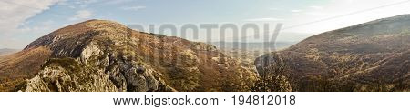 Panorama view of autumn landscape of Nisevacka gorge in east Serbia