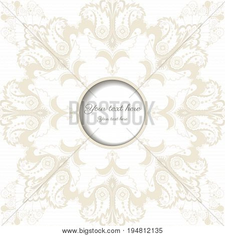 Vector round frame. Floral damask ornament. Place for your text. Perfect for greetings invitations or announcements.