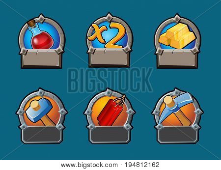 Cartoon game buttons collection with full flask double multiplication gold bars hammer dynamite axe isolated vector illustration