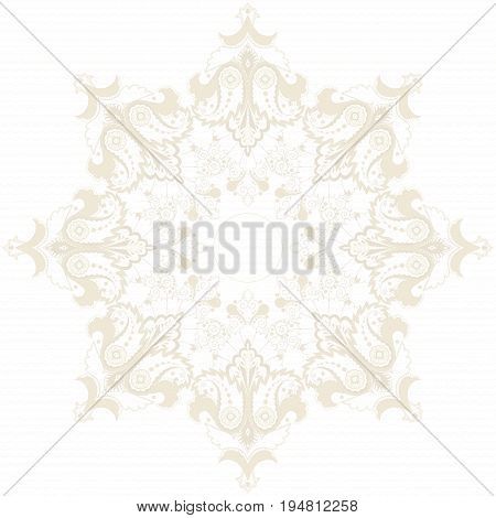 Round vector pattern with paisley floral elements.