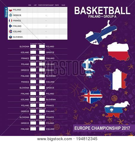 European Basketball Championship 2017, Group A In Helsinki, Finland. All Matches, Time And Place.