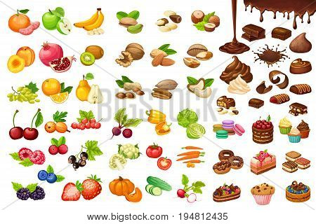 Colorful sweet and organic food set with fruits berries vegetables cakes nuts muffins chocolate bars flows isolated vector illustration