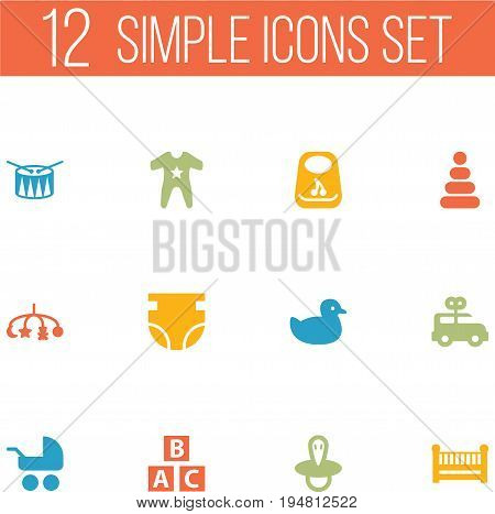 Set Of 12 Kid Icons Set.Collection Of Toy, Breastplate, Pram And Other Elements.