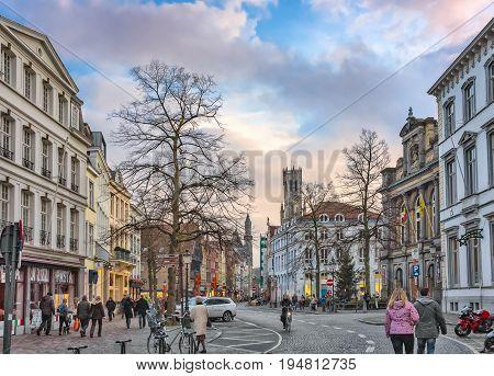 Winter View From Vlamingstraat Towards Belfry Of Bruges, Belgium