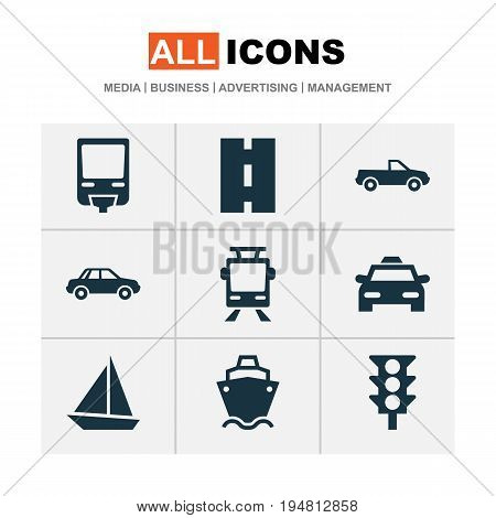Transport Icons Set. Collection Of Way, Cabriolet, Stoplight And Other Elements. Also Includes Symbols Such As Trolley, Pickup, Cabriolet.