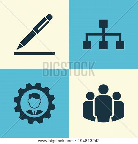 Business Icons Set. Collection Of Group, Pen, Hierarchy And Other Elements. Also Includes Symbols Such As Unity, Signing, Team.