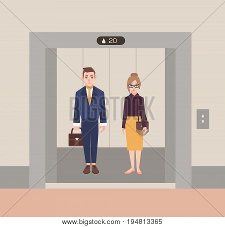 Office workers standing in open elevator. Business people man and woman. Flat cartoon vector illustration