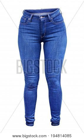 Blue Jeans Isolated on White Hip, Garment, Indigo