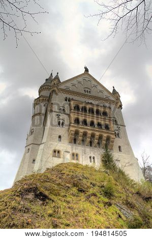 Looking up at an imposing view of Newschwander Castle.