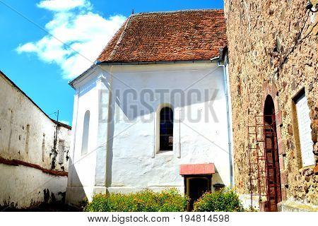 Fortified saxon medieval church in the village Homorod, Transylvania, Romania