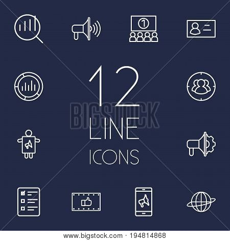 Set Of 12 Trade Outline Icons Set.Collection Of Worker, Ad Banner, Advertising Agency And Other Elements.