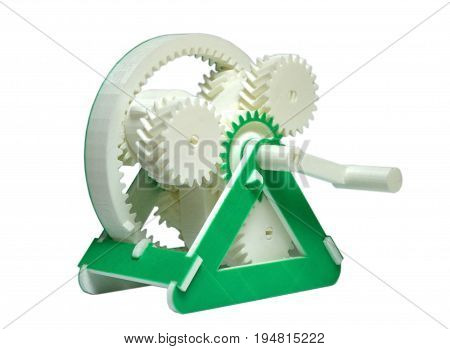 Bright colorful object printed by 3d printer. Isolated on white background. Automatic three dimensional 3d printer performs plastic green colors modeling in laboratory. Modern 3D printing technology.