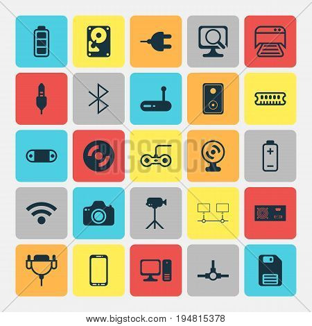Hardware Icons Set. Collection Of Router, Connected Devices, Web Camera And Other Elements. Also Includes Symbols Such As Photocamera, Network, Energy.