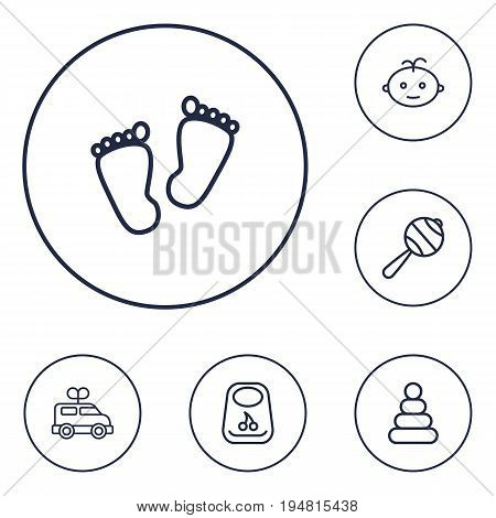 Set Of 6 Child Outline Icons Set.Collection Of Bib, Boy, Rattles And Other Elements.
