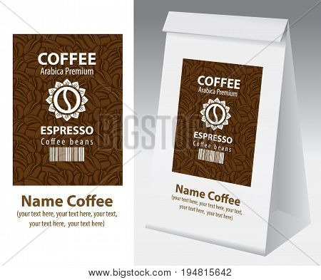 Paper packaging with label for coffee bean. Vector label for coffee with coffee bean bar code and text on the background of coffee beans and paper 3d package with this label.
