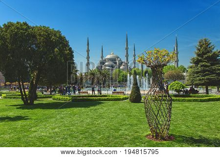 ISTANBUL TURKEY - MAY 5 2017: Panoramic view with Sultan Ahmed Mosque Blue Mosque and fountain from the Sultanahmet Park in spring time in Istanbul Turkey