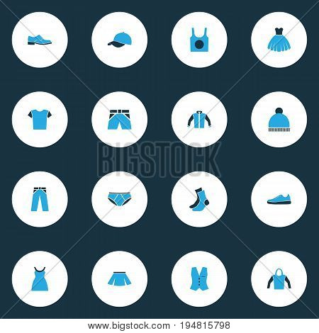 Garment Colorful Icons Set. Collection Of Trousers, Shorts, Man Footwear And Other Elements. Also Includes Symbols Such As Ski, Gown, Socks.