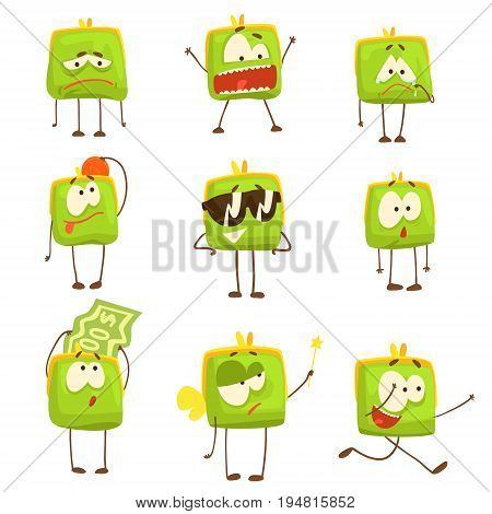 Cute green funny humanized purse showing different emotions set of colorful characters vector Illustrations isolated on white background