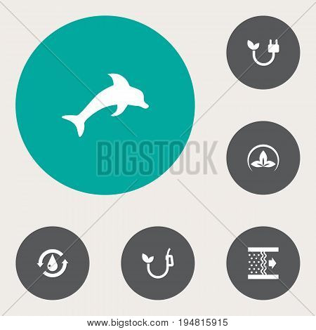 Set Of 6 Atmosphere Icons Set.Collection Of Eco, Fish, Purification And Other Elements.