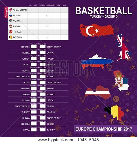 European Basketball Championship 2017 Group D in Istanbul Turkey. All matches time and place. Flag and maps of Great Britain Russia Serbia Latvia Turkey Belgium.