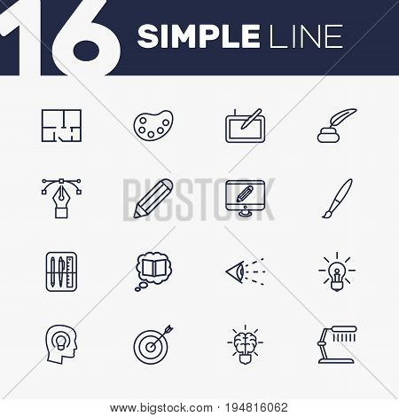 Set Of 16 Creative Outline Icons Set.Collection Of Table Lamp, Monitor, Property Plan And Other Elements.
