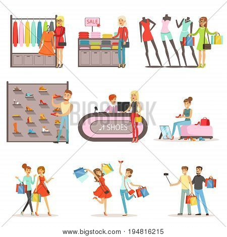 People shopping and buying clothes and shoes set, clothing store interior colorful vector Illustrations isolated on white background