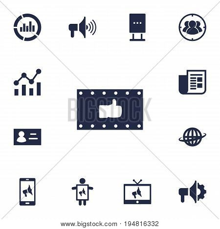 Set Of 13 Advertising Icons Set.Collection Of Journal, Like, Statistics And Other Elements.