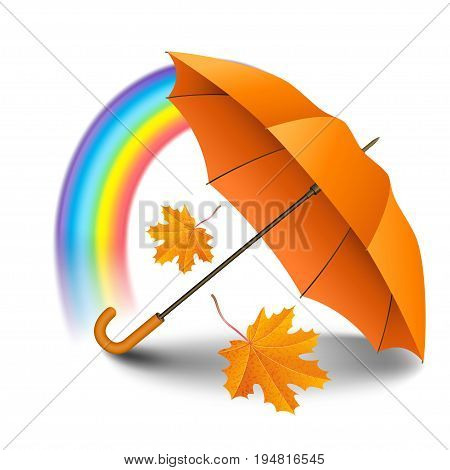 Orange realistic umbrella with falling yellow leaves and rainbow isolated on white background. Vector illustration
