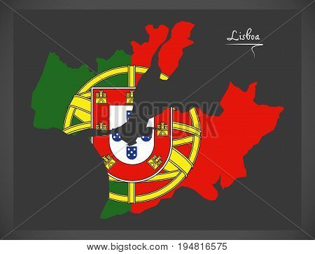Lisboa Portugal Map With Portuguese National Flag Illustration