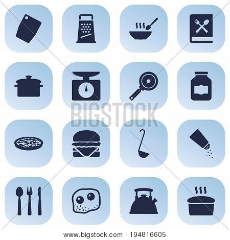 Set Of 16 Culinary Icons Set.Collection Of Loaf, Sandwich, Non-Stick Elements.
