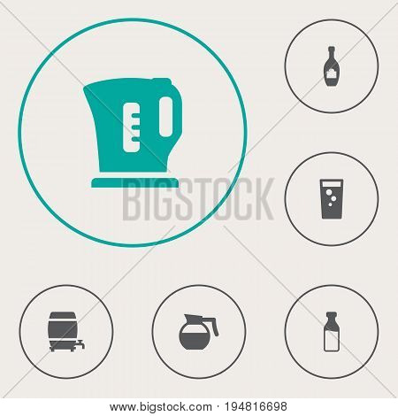 Set Of 6 Drinks Icons Set.Collection Of Electric Teapot, Cask, Alcohol And Other Elements.