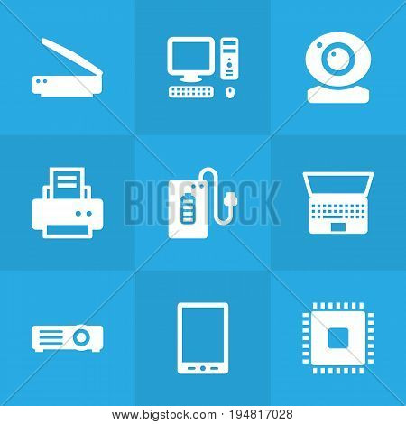 Set Of 9 Computer Icons Set.Collection Of Supply, Record, Peripheral And Other Elements.