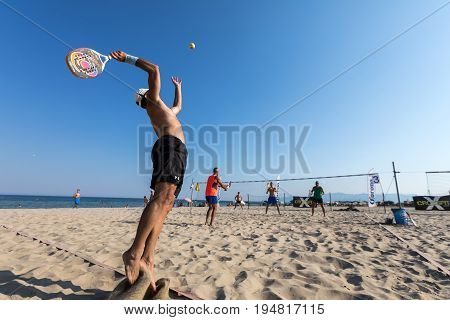 Unidentified Players During The 1St White Tennis Tournament At The Erasmus Beach In Xanthi