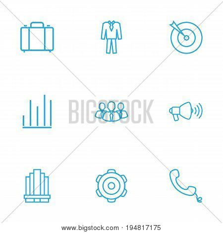 Set Of 9 Trade Outline Icons Set.Collection Of Chart, Team, Loudspeaker And Other Elements.