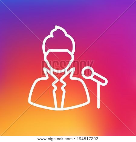 Isolated Vocalist Outline Symbol On Clean Background. Vector Singer Element In Trendy Style.