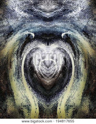 abstract graphic background with filligrane pattern, with symbol of heart and wings, spiritual healing and protection