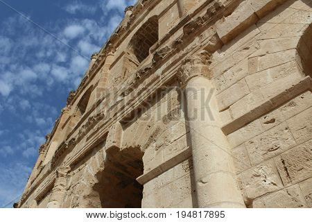 Roman amphitheater located in Tunisia. Sahara Desert.