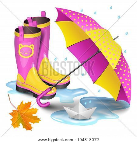 Pink-yellow gumboots children's umbrella falling orange maple leaves and paper boat in puddle. Childhood autumn and rain concept. Realistic vector illustration