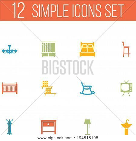 Set Of 12 Set Icons Set.Collection Of Bookcase, Bedroom, Coat Stand Elements.