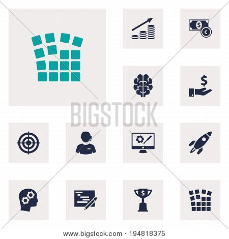 Set Of 12 Strategy Icons Set.Collection Of Startup Building, Intelligence, Goblet And Other Elements.