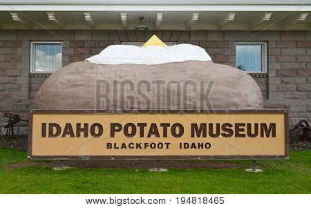 BLACKFOOT, IDAHO, JUNE 28, 2017: Giant Baked Potato at the Idaho Potato Museum. The museum showcasing the history of the potato is housed in the historic Oregon Short Line Railroad Depot.
