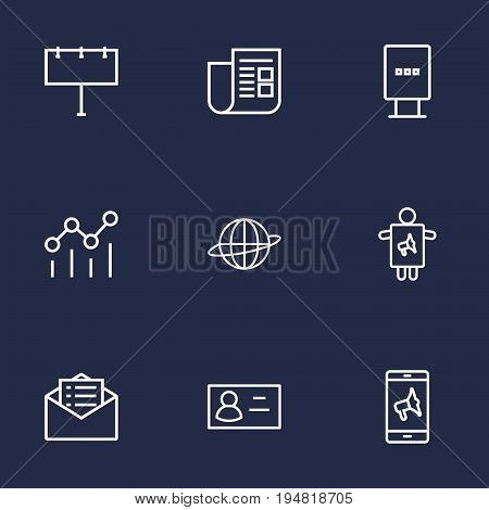 Set Of 9 Commercial Outline Icons Set.Collection Of Worker, Campaign, Newspaper And Other Elements.