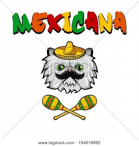 Cat face with mexican sombrero and maracas. Cartoon vector illustration isolated on white background