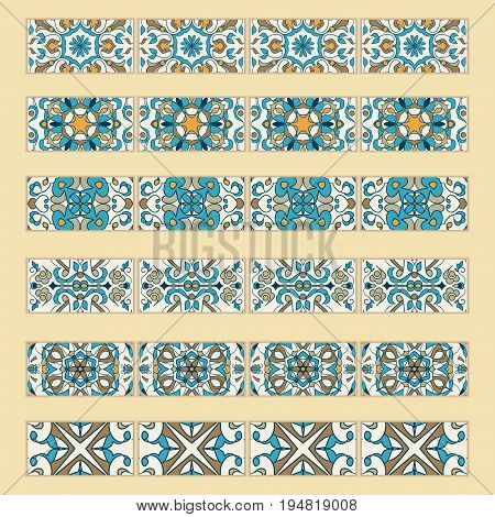 Vector set of decorative tile borders. Collection of colored patterns for design and fashion. Portuguese, Azulejo,Talavera, Spanish, Moroccan ornaments