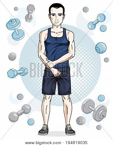 Happy brunet young adult man standing on simple background with dumbbells and barbells. Vector character sport and fitness theme.