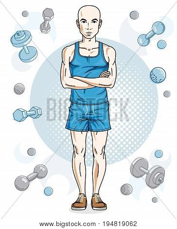Happy bald young adult man standing on simple background with dumbbells and barbells. Vector character sport and fitness theme.