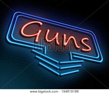 3d Illustration depicting an illuminated neon sign with a guns concept.