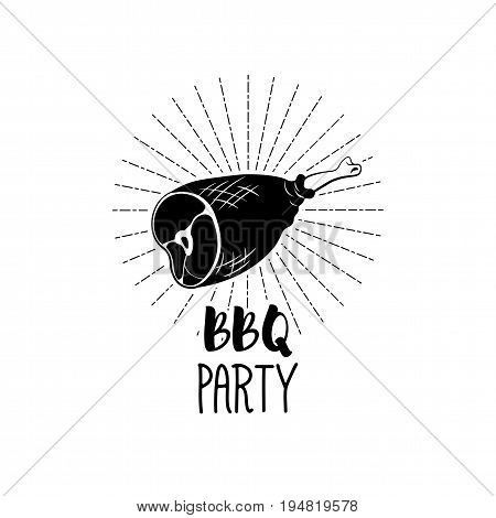 BBQ Party Badge. Ham grill label. Vector illustration isolated on white background
