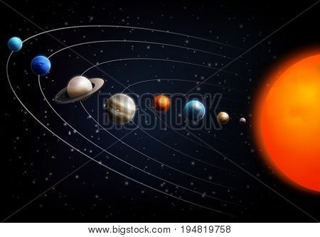 Realistic space background with all planets of the solar system on black fond vector illustration