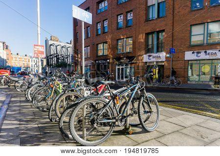 DUBLIN, IRELAND - March 31, 2017: Street view of Dublin city centre in Dublin Ireland